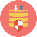 database protection, database security, database shield, digital protection, safe database, safety concept icon
