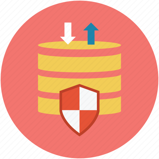 database protection, database security, database shield, digital protection, safe database, safety concept icon