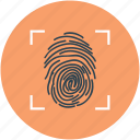 fingerprint identification, fingerprint inspection, fingerprint investigation, fingerprint scanner, fingerprint scanning icon
