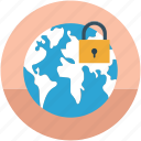 digital protection, digital security, globe and lock, globe with lock, international security, protection, safety concept icon