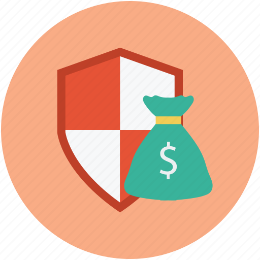 dollars with shield, financial protection, financial security, money bag shield, money protection, money protection concept icon