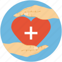 heart in hands, heart protection, medical care concept, medical signed heart icon