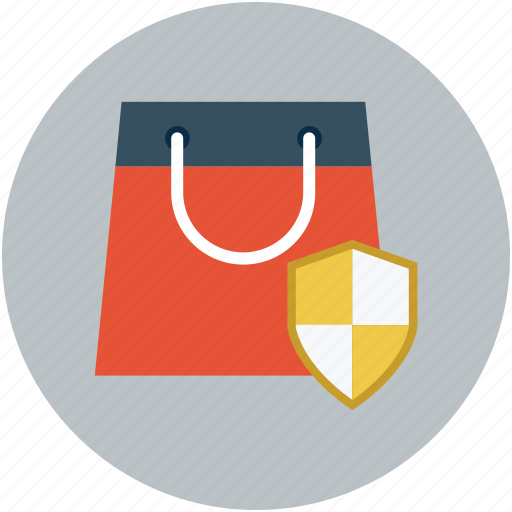 ecommerce protection concept, reliable shopping, safe shopping, secure shopping, shopping bag shield icon