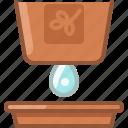 drop, earthen, flowerpot, gardening, seeding, watering, yumminky icon