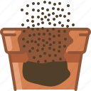 earth, earthen, flowerpot, gardening, pouring, seeding, yumminky icon
