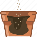 earthen, flowerpot, gardening, hole, seeding, seeds, yumminky icon