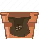 earthen, flowerpot, growth, seeding, seeds, vegetation, yumminky icon