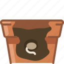 earthen, flowerpot, gardening, germination, growth, seeding, yumminky icon