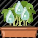 drops, earthen, flowerpot, gardening, seeding, watering, yumminky icon