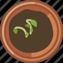 earthen, flowerpot, gardening, growth, seeding, vegetation, yumminky icon