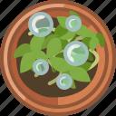 drops, earthen, flowerpot, plant, seeding, watering, yumminky icon