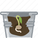 flower, germination, growth, pot, seeding, tin, yumminky icon