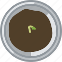 flower, gardening, growth, pot, seeding, tin, yumminky icon