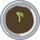 flower, gardening, growth, pot, seeding, tin, yumminky icon