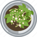 fertilization, flower, plant, pot, seeding, tin, yumminky icon