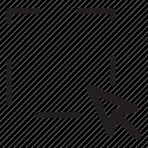 computer, cursor, pointer, selection, square icon