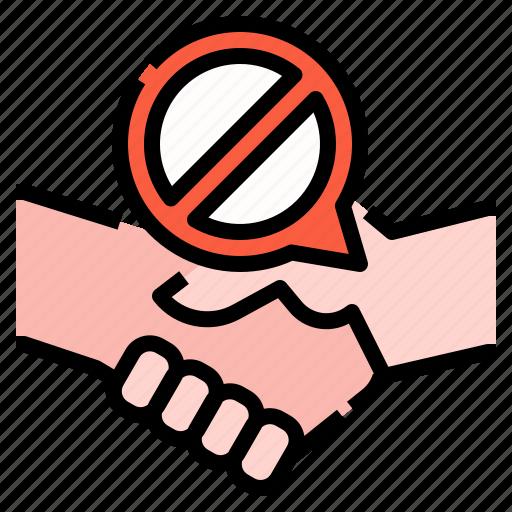 handshake, healthcare, hygiene, no, protection, self icon