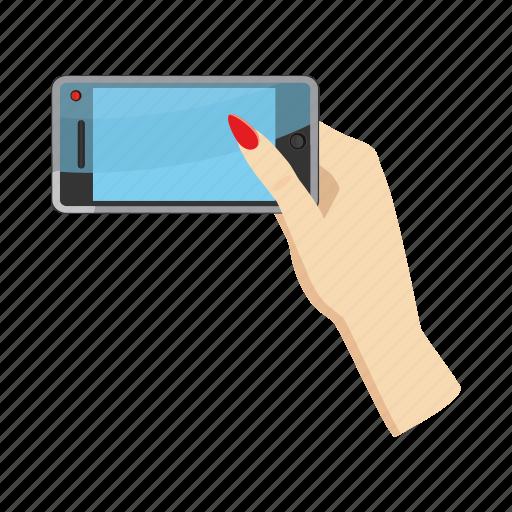 cartoon, hand, lips, nail, phone, selfie, smartphone icon