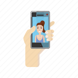 cartoon, girl, phone, photo, portrait, selfie, smartphone icon