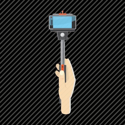 camera, cartoon, hand, hold, monopod, picture, stick icon