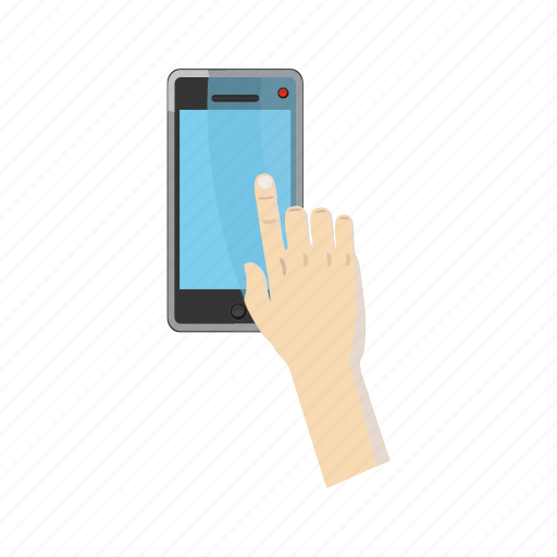 cartoon, click, hand, mobile, screen, smartphone, technology icon