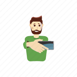 beard, cartoon, man, phone, portrait, selfie, smartphone icon