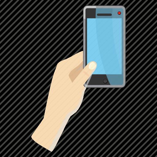 cartoon, hand, mobile, phone, photo, portrait, smartphone icon