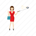 cartoon, girl, monopod, phone, selfie, smartphone, stick icon