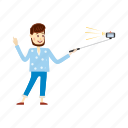 beard, cartoon, man, monopod, phone, selfie, stick icon