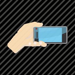 cartoon, hand, horisontal, phone, portrait, selfie, smartphone icon