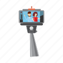 cartoon, monopod, phone, portrait, selfie, smartphone, stick icon