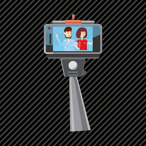 cartoon, monopod, phone, portrait, selfie, smartphone, stick icon