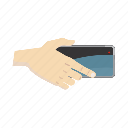 cartoon, hand, horisontal, phone, portrait, selfie, smartphone icon