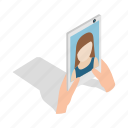 isometric, mobile, phone, photo, portrait, selfie, smartphone icon