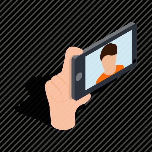 isometric, mobile, phone, photo, portrait, selfie, smartphone icon