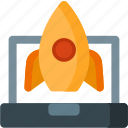 laptop, launch, rocket, space, spaceship, start, startup icon