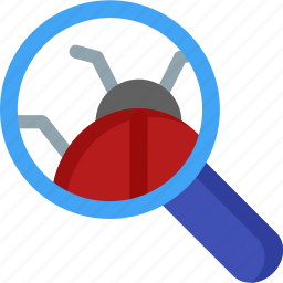 bug, find, magnifier, magnifying, optimization, search, seo icon