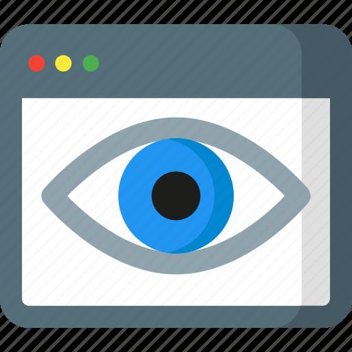 analytics, eye, monitor, monitoring, report, seo, web icon