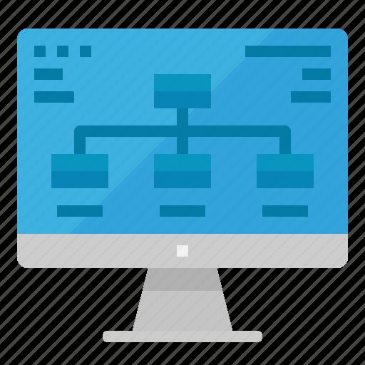 computer, diagram, monitor, process, strategy icon