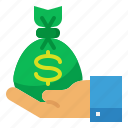 bag, dollar, hand, investment, money icon