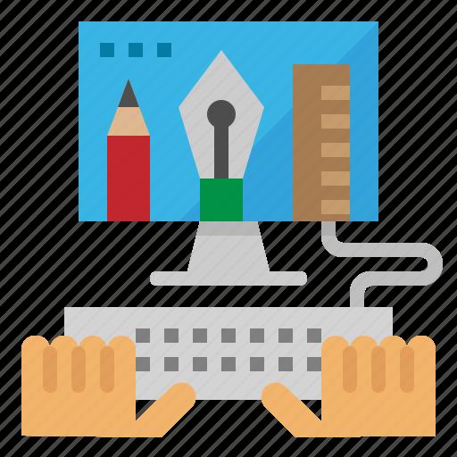 art, design, hand, monitor, web icon