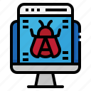 bug, computer, internet, monitor, virus icon