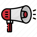 bullhorn, loudspeaker, marketing, megaphone, prototion icon