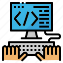 code, coding, hand, interface, monitor icon