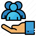care, customer, hand, service, support icon