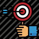 archer, arrow, hand, seo, target icon