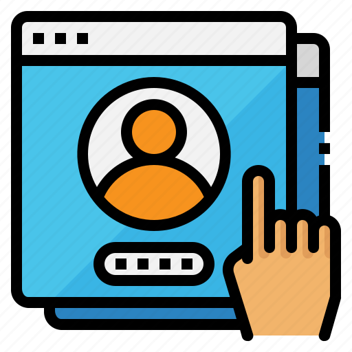 account, hand, password, profile, user icon