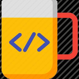 beverage, code, cup, developer, drink, mug, tea icon