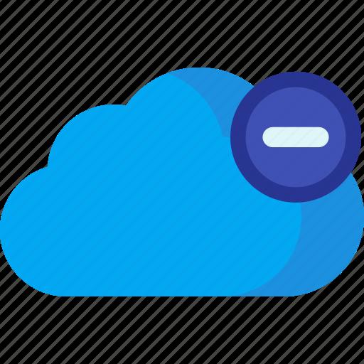 cloud, computing, data, database, delete, remove, storage icon