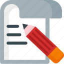 content, editing, page, paper, pencil, sheet, write icon